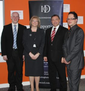 Darren Jaundrill from Network Rail, Dr Julie Mills, Principal of MK College, Dr Peter Parkes, MD of Peak Performance, and Nat Morosoli from APM
